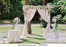 wedding ceremony arch arch wedding ceremony decorated cloth flowers stock photo
