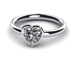 bezel ring platinum bezel heart ring
