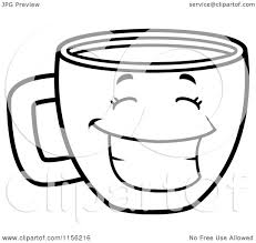 cartoon clipart of a black and white happy grinning coffee cup