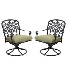 Swivel Rocking Chairs For Patio Hampton Bay Edington Cast Back Pair Of Patio Swivel Rockers With