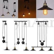 Retractable Ceiling Light Retro Vintage Industrial Hanging Ceiling Light Pendant Retractable