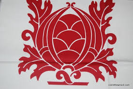 Red Drapery Fabric For Your Home Retro Modern Damask Crest Red And White Cream Design