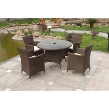 4 Seat Dining Table And Chairs Dining Room Garden In Backyard Feat Black And White Rattan