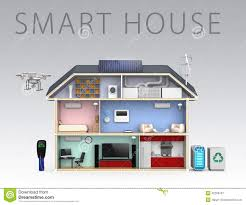 smart house with energy efficient appliances with text stock