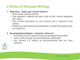 Accomplishment Statements For Resume Student Job Centre 2012 Resume Writing Student Job Centre Rules