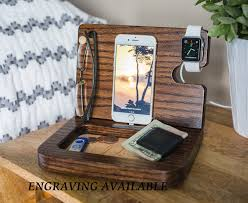100 wood charging station organizer wooden walnut iphone