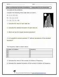 standard deviation worksheet with answers worksheets