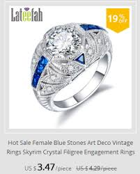 blue stones art deco vintage ring clear crystal filigree