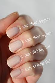 essie sheer comparison ballet slippers birthday suit limo