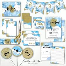 Blue And Gold Baby Shower Decorations by Blue And Gold Baby Shower Blue Ombre Watercolor Boho Baby Boy