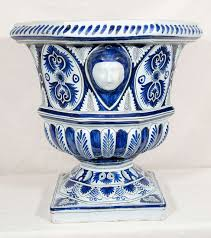 Large White Planter by Pair Of Large 19th To 20th Century Blue And White Faience Planters