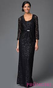 long sequined lace dress with jacket promgirl