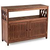amazon com outdoor natural finish eucalyptus wood buffet server