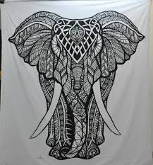 Black And White Room Black And White Tapestry Black And White Elephant Mandala Tapestry