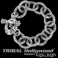 black chain bracelet images Scrollwork link bracelet king baby silver curb chain bracelet for men png