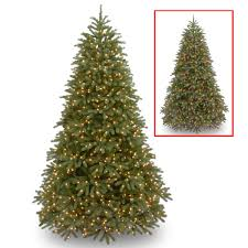 national tree pre lit 7 1 2 feel real jersey frasier fir um hinged artificial tree with 1000 low voltage dual led lights and plastic caps
