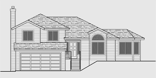 split level house plan house front drawing elevation view for 7117 split level house