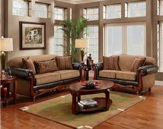 Traditional Sofas Dreena Traditional Bonded Leather And Chenille - Furniture set for living room