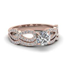 Black Diamond Wedding Ring Sets by Rose Gold Round White Diamond Engagement Wedding Ring In Prong Set