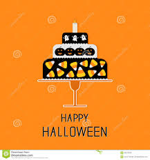 cake with candy corn pumpkin ghost and candle happy halloween