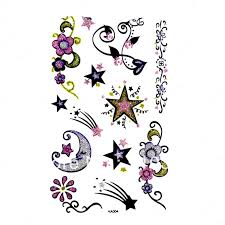 1pc lot wm 013 temporary moon tattoo belly kyte palm back of hand