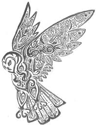 owl coloring pages free printables tribal owl by crimsonbluewolf