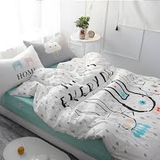 white rabbit bedding set cartoon forest animals cute bear printed