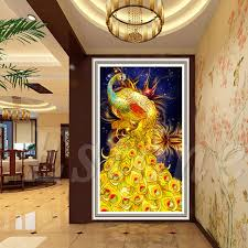 s home fashion design diy 5d golden peacock diamonds embroidery