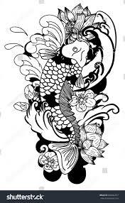 beautiful doodle art koi carp tattoo stock vector 668566357