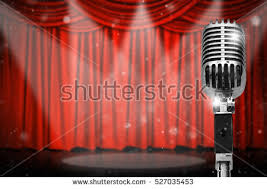 Studio Curtain Background Retro Microphone Over Red Curtain Background Stock Photo 535222060