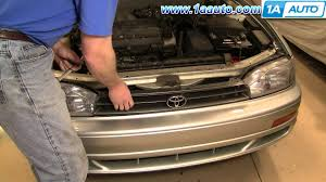 how to install replace damaged front radiator grille toyota camry