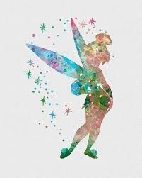 wonderful spotted watercolor tinkerbell fairy tattoo design