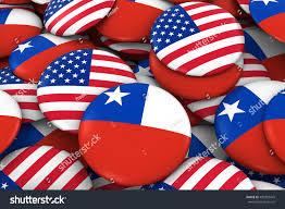 Chilian Flag Usa Chile Badges Background Pile American Stock Illustration