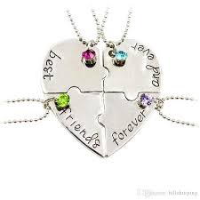 puzzle heart pendant necklace images Wholesale hand stamped best friends forever heart puzzle piece jpg