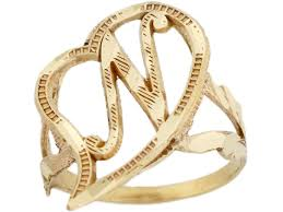 real gold cursive letter n diamond cut 2 3cm unique heart initial