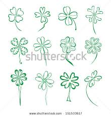 4 leaf clover template set 12 decorative four stock vector 151533617