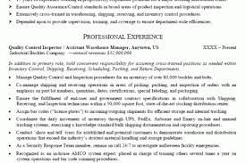 control inspector resume cover letter