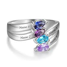 grandmothers ring 4 tear drop gems mothers ring or grandmothers ring think