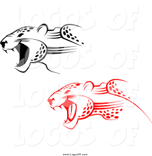 jaguar clipart vector clipart of red and black attacking jaguar logos by vector
