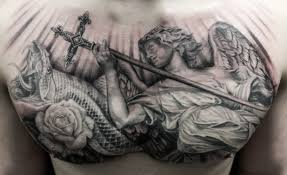 black and grey chest tattoos fantastic