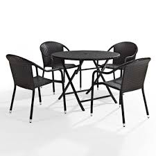 Crosley Furniture Outdoor Palm Harbor 5 Piece Outdoor Dining Set W Stackable Chairs