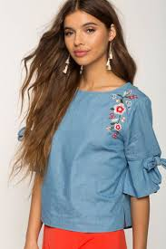 chambray blouse s blouses embroidered chambray blouse a gaci