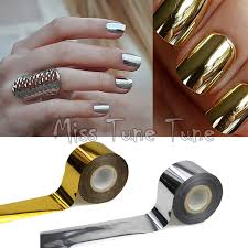metallic nail foil wraps 1 rolls 120x4cm metallic mirror effect chrome nails gold silver nail