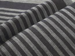 Eco Upholstery Fabric Black Narrow Strips Canvas Pure Linen Fabric Upholstery Decorator