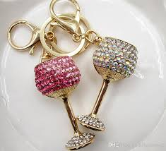 nice key rings images 2018 attractive design wine glass shape key ring inlaid rhinestone jpg