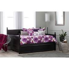 furniture black wood full size daybed with drawer trundle and