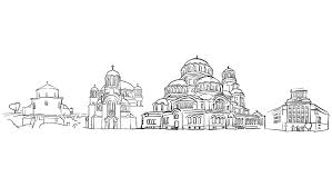 taj mahal outline animation hand drawn sketch build up and down