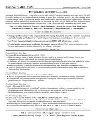 Information Security Resume Examples by Security Manager Resume