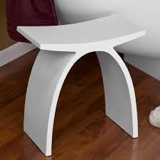 stylish white wooden small bathroom bench on laminate floor