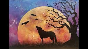 halloween moon rising night sky landscape with wolf u0026 tree